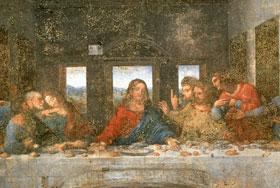 Particolare del Cenacolo di Leonardo da Vinci prima del restauro concluso nel 1999