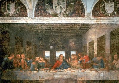 Leonardo da Vinci: il Cenacolo - prima del restauro iniziato nel 1978 e concluso agli inizi del 1999