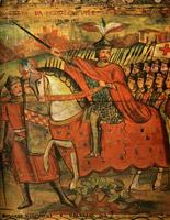 Immagine raffigurante il Conte Ruggero alla  conquista di Palermo, tratta da una pittura di carretto siciliano